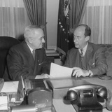 President Harry Truman (Left) with Governor Adlai Stevenson at the White House on Dec. 12, 1952 Posters
