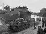U.S. Sherman Tanks Leave a Landing Ship in Anzio Harbor, May 1944 - Photo