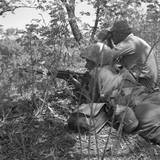 U.S. Marine Sniper and Spotter Work Together in Picking Off the Enemy in Korea. Korean War, 1950-53 Prints