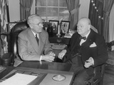 President Harry Truman Confers with British Prime Minister Winston Churchill in the Oval Office Photo