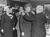 French President Auriol Presenting Eleanor Roosevelt with a Medal Photo