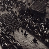 Overhead View of Provincial Troops Marching Along a City Street in China Photo by Arthur Rothstein