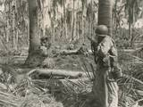 U.S. Soldiers Pinned Down by a Enemy Machine Gun, 50 Feet from White Beach, Leyte Island Print