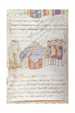 Manuscript Painting, 10th C, Parent with Children for Baptism by Bishop During Easter Vigil Plakater