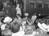 President Harry Truman on the Presidential Train at a Campaign Stop in Willard, Missouri Photo