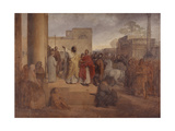 St. Ambrose Refuses Emperor Theodosius's Entry to the Temple Art by Francesco Hayez