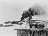 Smoke Rising from Burning Oil Tanks on Sand Island, Midway, after Japanese Air Attack, June 4, 1942 Posters