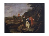 Hare Hunting, Rural Scene of Men and Woman with Rifles Poster by Pietro Longhi