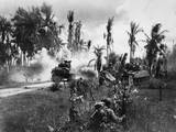 U.S. Troops Take Cover Behind Advancing Tanks While Moving Up on Japanese Positions Posters
