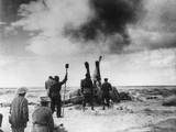 British Artillery Shelling an Enemy Position in Libya During World War 2 Photo