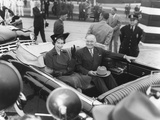 President Harry S. Truman Rides with Princess Elizabeth in an Open Limousine Photo