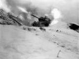 M46 Tank of 6th Tank Battalion Fires on Enemy Positions in Support of the Infantry Near Song Sil-Li Posters