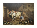 Lombard Farmhouse, with Shepherds and Animals in a Barn Posters by Francesco Landonio