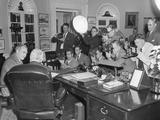 President Harry Truman (Back to Camera) in the Oval Office with Secretary of State Dean Acheson Photo