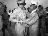 General Army Douglas Macarthur Is Welcomed by Dr. Syngman Rhee at Kimpo Air Force Base Photo