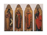 Four Saints, John the Baptist and Paul with Holy Bishops Kunst af Paolo Veneziano
