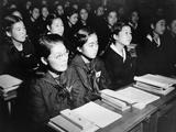 Japanese Girls Seated at Desks in Newly Rebuilt Catholic School in Tokyo, Japan Prints