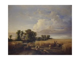 Landscape with Wheat Harvest Scene Posters by Carlo Mark Senior
