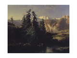 Mountain Landscape with Trees and Herders Posters by Alexandre Calame