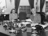 President Harry Truman Dictating to His Secretary, Rose Conway, Feb. 11, 1947 Photo