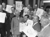 President Harry Truman Posing at the White House with Visiting Cartoonists, Oct. 3, 1949 Photo