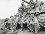 Ernie Pyle, Famous War Correspondent, and a U.S. Tank Crew at the Anzio Beachhead, Italy Prints