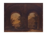 Landscape Seen Through the Arches of an Old Building, C. 18th C. Posters