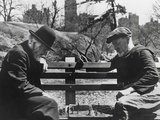Two Old-Timers Playing Chess on a Central Park Bench in New York City, May 1946 Photo
