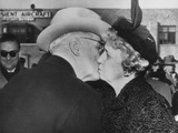 President Truman Kisses His Wife Goodbye before Boarding the Plane for Washington Photo