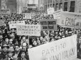 Italian Men in Naples Waved Banners and Signs as They Demonstrated in Naples Poster