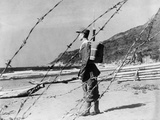 Chinese Nationalist Soldier Stands Guard on a Sandy Beach Somewhere Along Formosa's Coast Prints