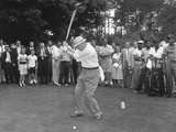 President Eisenhower Teeing Off on a Golf Course, Summer 1957 Prints