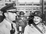 General Edwin Walker (Left) with Col. William Kuhn Outside Central High School, Little Rock Photo