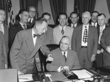 President Harry Truman About to Push a Button Activating a New Generator at Grand Coulee Dam Photo