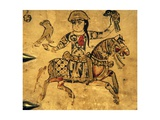 Falconer on Horseback, Detail from Ivory Casket, 11-12th C Reproduction giclée Premium