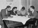 Polly Johnson (2nd from Right) Is Assisted in Signing an Affidavit for the NAACP Posters