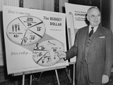President Harry Truman, Standing Next to Budget Charts for the 1954 Fiscal Year Photo