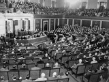 President Harry Truman Speaking to a Joint Session of Congress in 1945 Photo