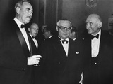 Dean Acheson, Ernest Bevin, and Robert Schuman (Right), at the Waldorf Astoria Hotel Photo