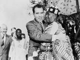 Vice President Nixon Embraces Chief Osae Dyan II, Head of the Osu Alata Tribe Photo