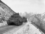 M-4A3 Sherman Tank Convoy Travels Along a Well Graded But Narrow Road Coming Up Funchilin Pass Prints