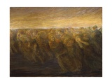Horrors of War - Exodus (Italians Fleeing Austrians at Caporetto) Giclee Print by Gaetano Previati