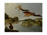 Landscape with Fall of Icarus Print by Carlo Saraceni