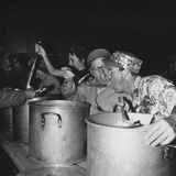 Mickey Rooney and Members of His Uso Troupe Feed Troops Chow Posters
