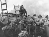 Marine Lt. Baldomero Lopez Scaling a Seawall after Landing on Red Beach in the Invasion of Inchon Poster