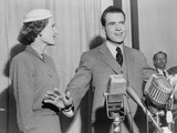 Richard Nixon Standing Behind Microphones with Wife Pat Shortly after the 1952 Election Photo