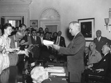 President Harry Truman Announcing Japan's Surrender to Reporters in the Oval Office Photo