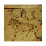 Falconer on Horseback, Detail from Ivory Casket, 11-12th C., Cathedral of St. Andrew, Veroli, Italy Poster