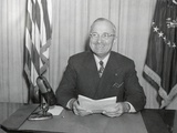 President Harry Truman Delivering a Radio Speech on Jan. 2, 1946 Photo