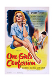 One Girl's Confession, Cleo Moore (Left and Center), Hugo Haas (Right), 1953 Art